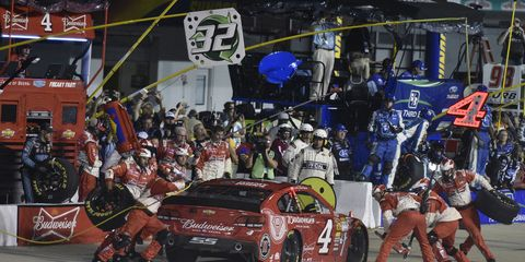 """Kevin Harvick's thoughts on the poor performance of his pit crew: """"It's just one mistake after another every week on pit road."""""""