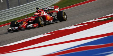 Scuderia Ferrari driver Kimi Raikkonen at the Circuit of the Americas in Austin, Texas.