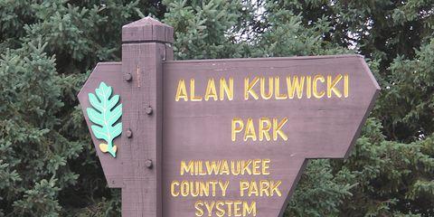 Sign outside of Alan Kulwicki Park near Milwaukee honors the NASCAR great.