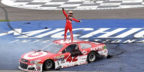 Kyle Larson won Sunday's NASCAR Sprint Cup race at Michigan International Speedway.