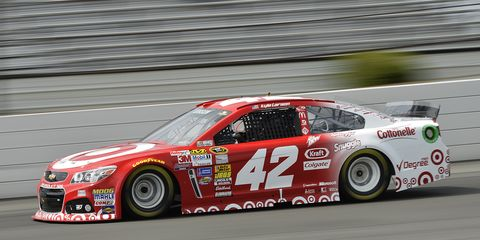 Kyle Larson's average speed in qualifying of 183.438 mph on Friday is a NASCAR Sprint Cup track record at Pocono Raceway.