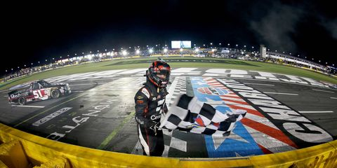 Kyle Busch won his 173rd NASCAR national touring series event by taking the Truck Series race at Charlotte Motor Speedway on Friday.