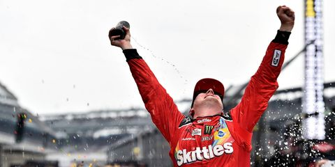Kyle Busch grabbed an improbable victory at Indianapolis on Sunday.