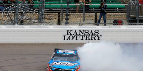 Sprint Cup regular Kyle Busch led 150 of 200 laps to win the NASCAR Xfinity Series race at Kansas on Saturday.