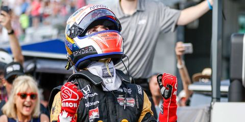 James Hinchcliffe reacts to winning the pole at Indianapolis Motor Speedway on Sunday.