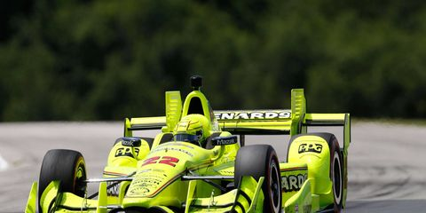Team Penske driver Simon Pagenaud holds a healthy 74-point lead over teammate Helio Castroneves in the IndyCar season points standings.