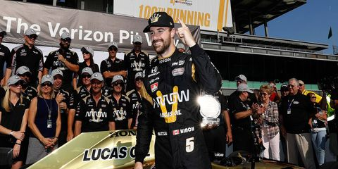 James Hinchcliffe ended Team Penske's streak of seven consecutive poles in Verizon IndyCar Series competition.