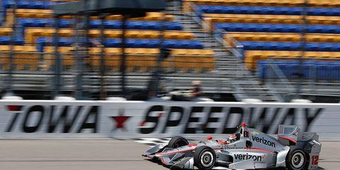Will Power runs his Team Penske Chevy through practice on Saturday at Iowa Speedway.