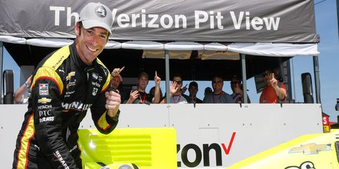 Simon Pagenaud earned his fifth P1 sticker of the season with a pole-winning run at Iowa Speedway on Saturday.