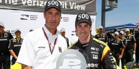 SImon Pagenaud, right, captured his seventh career Verizon IndyCar Series pole on Saturday. It was the 500th across all series for the Penkse organization.
