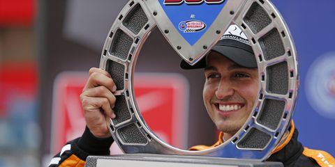 Graham Rahal won Saturday night's IndyCar race in Fontana in controversial fashion.