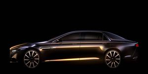 Here's our first official glimpse of the sleek, sinister Aston Martin Lagonda sedan.