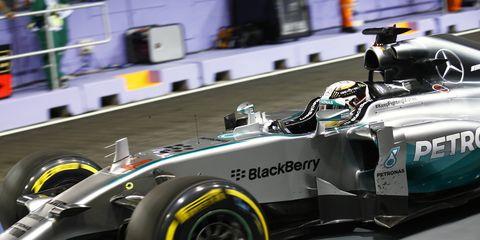 Mercedes driver Lewis Hamilton won his sixth pole of the Formula One season on Saturday in Singapore.