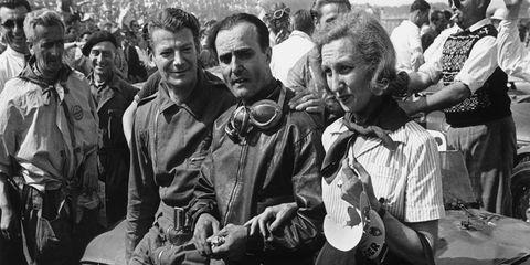 Luigi Chinetti, center, won at Le Mans in 1949.