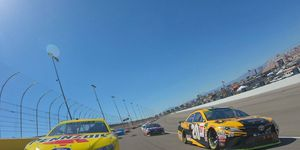 Joey Logano and Erik Jones lead the field on a pace lap before the start of the South Point 400 at Las Vegas Motor Speedway.