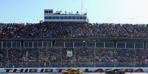 Joey Logano takes the checkered flag to win the Monster Energy NASCAR Cup Series GEICO 500 at Talladega Superspeedway on Sunday.