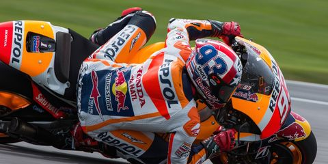Marc Marquez put Honda in victory lane at the Brickyard on Sunday.
