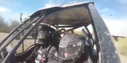 Robby Gordon riding shotgun as 8-year-old Max Gordon takes the wheel during the Bluewater Desert Challenge.