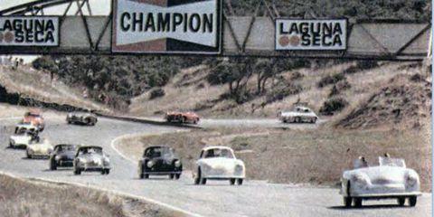 Classic Porsches take on Laguna Seca during Monterey Car Week 1982.