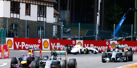 Nico Rosberg leads the field at Spa on Sunday.