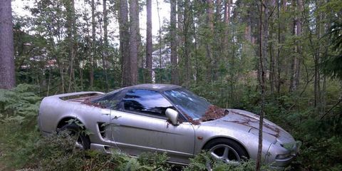 An engine-less Honda NSX was spotted in some Russian woods.