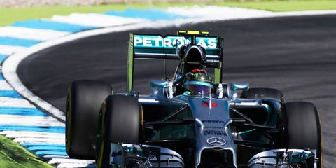 Mercedes will be racing on Sunday in Hockenheim without a front to rear linked suspension system. The FIA has hinted, but not ruled definitively, that the innovative suspension system would be ruled illegal if protested.