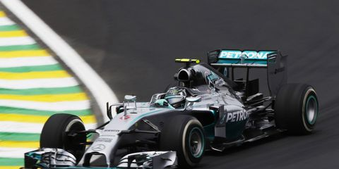 Nico Rosberg was quickest in practice on Friday in Brazil for Sunday's Formula One Brazilian Grand Prix.