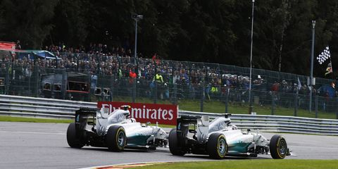 A photo moments before Nico Rosberg takes out teammate Lewis Hamilton on the second lap of the Belgian Grand Prix.