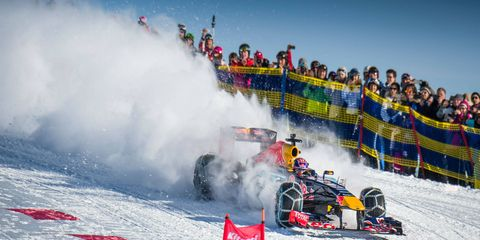Max Verstappen's Red Bull Racing machine flies down an Alpine ski slope earlier this month.