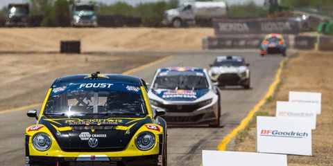 Tanner Foust leads the field during the opening weekend of the Red Bull Global Rallycross season in Arizona.