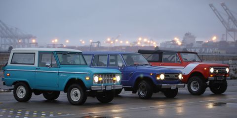 1971 Ford Bronco, 1984 Toyota Land Cruiser, 1971 International Harvester Scout at Alameda Point