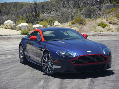 Our test 2015 Aston Martin V8 Vantage GT received the optional GT package and 10-spoke forged alloy graphite wheels.