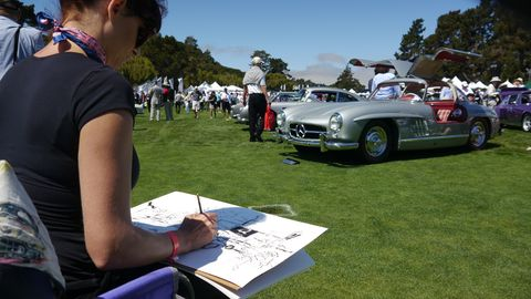 Artist Anna-Louise Felstead sketches a Mercedes before applying the colors. See her work at alfelstead.com