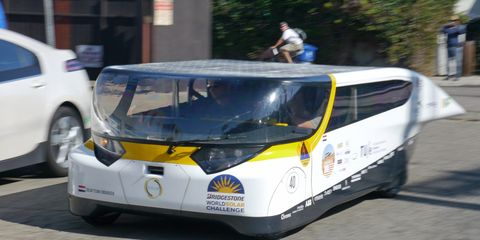 The Eindhoven University electric car looks a little like an old Dodge van.