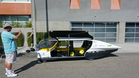 There's plenty of room inside the Eindhoven University electric car, just don't stand up.