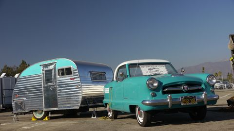 1955 Nash with matching Serro Scotty Sportsman trailer.