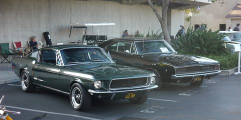 """Replicas of the Mustang and the Charger from the movie """"Bullitt"""" looked ready to chase again."""