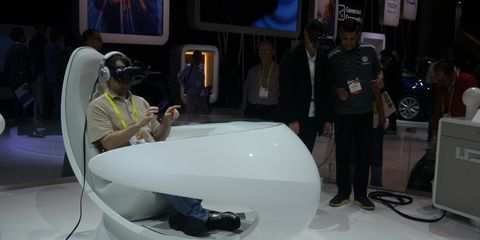 Volkswagen didn't have any new cars or concepts at CES but it did let showgoers play around with virtual reality. No, that is not a new car.
