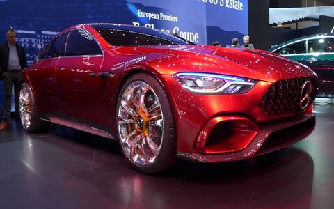 The AMG GT Concept previews an upcoming four-door Mercedes-AMG performance hybrid. Combining a turbocharged 4.0-liter V8 and an electric motor, the all-wheel-drive fastback has a stated total output of 805 hp and a 0-60 time south of three seconds.