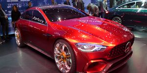 The AMG GT Concept previews an upcoming four-door Mercedes-AMG performance hybrid. Combining a turbocharged 4.0-liter V8 and an electric motor, the all-wheel drive fastback has a stated total output of 805 hp and a 0-60 time south of three seconds.