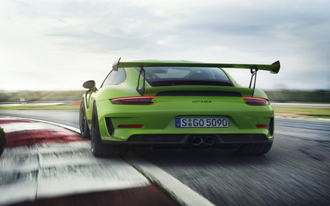 The 2019 Porsche 911 GT3 RS delivers 520 hp from a 4.0-liter naturally aspirated flat six.