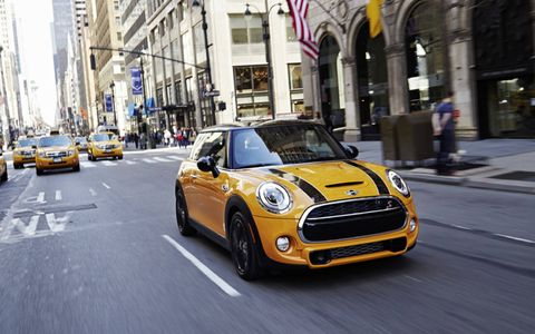 The 2014 Mini Cooper S Hardtop is equipped with a 2.0-liter turbocharged I4.