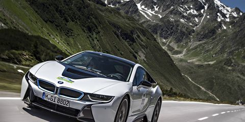 BMW's i8 supercar features 370 total horsepower and can go to 60mph in 4.2 seconds.