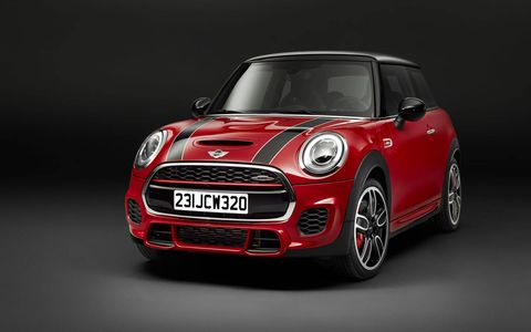 The 2015 Mini John Cooper Works Hardtop gets a turbo 2.0-liter four.