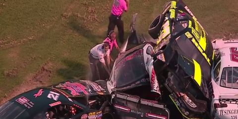 A vicious wreck occured Saturday night at Bowman Gray Stadium in Winston-Salem, North Carolina. Check out the carnage in the video below.