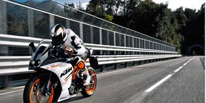 The KTM RC 390 sport bike tops out at over 100 mph.