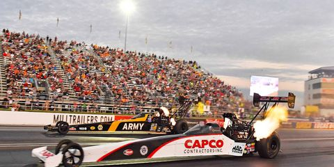 Steve Torrence defeated Tony Schumacher in the bonus race final round Saturday for his first $100,000 payout.