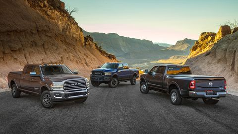 The heavy-duty versions of Ram's latest pickup charge into Cobo Center with 1,000 lb-ft of torque.