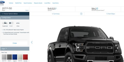 Ford's second-generation F-150 Raptor configurator is now live on the Ford page -- say goodbye to productivity today.