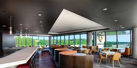 You can watch Macans rip around the skidpad while you dine at the Porsche Experience Center's Restaurant 356.